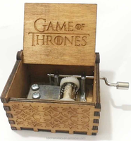 Low Price Engraving Logo Game of Thrones Wooden Music Box Hand Crank Music Box Movement