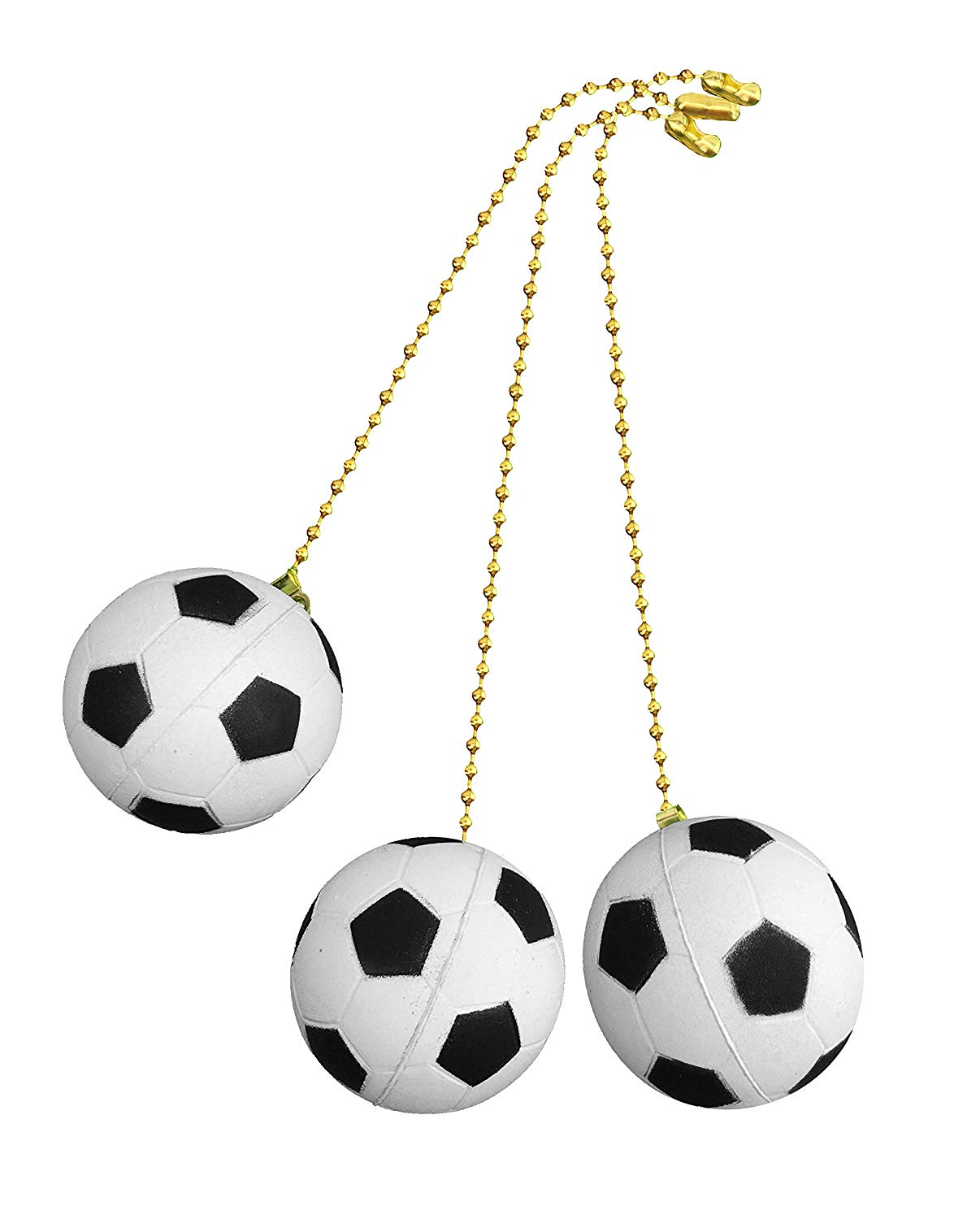 Decorative Soccer Ball Sports Ceiling fan pull with beaded chain - 3 Pack - FA1006