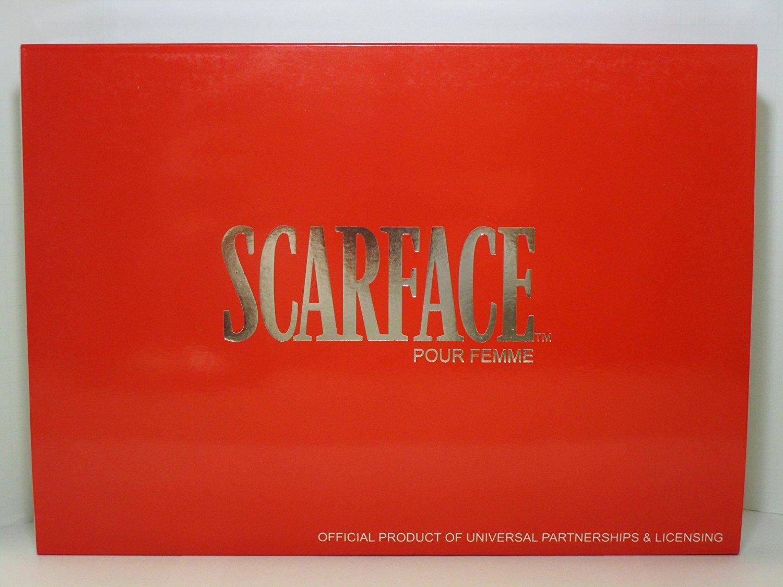 UNIVERSAL STUDIOS SCARFACE EXCLUSIVE 5 PCS GIFT SET FOR WOMEN Eau De Parfum Spray 3.4 Oz / 100 ml, Perfumed Body Lotion 6.8 Oz / 200 ml, Eau De Parfum 0.34 Oz / 10 ml, Key Chain, Scarf