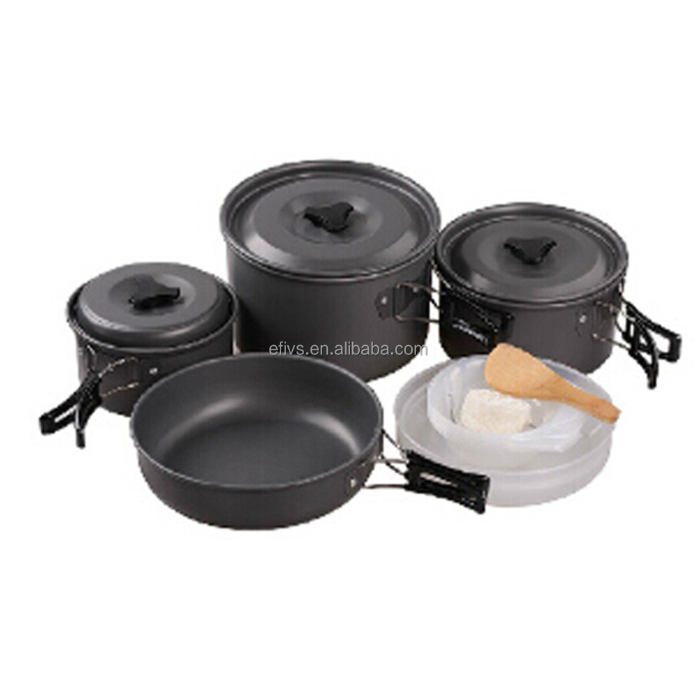 3-5 persons outdoor Camping cookware mess kit cooking pot pan hiking equipment portable outdoor survival kit