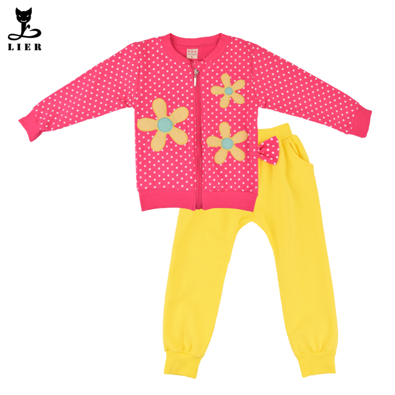 2015 Autumn Kids Casual Clothes Set Baby Girls Floral Dot Clothing Sets Children Outerwear Coat+Trousers Suits vetement fille