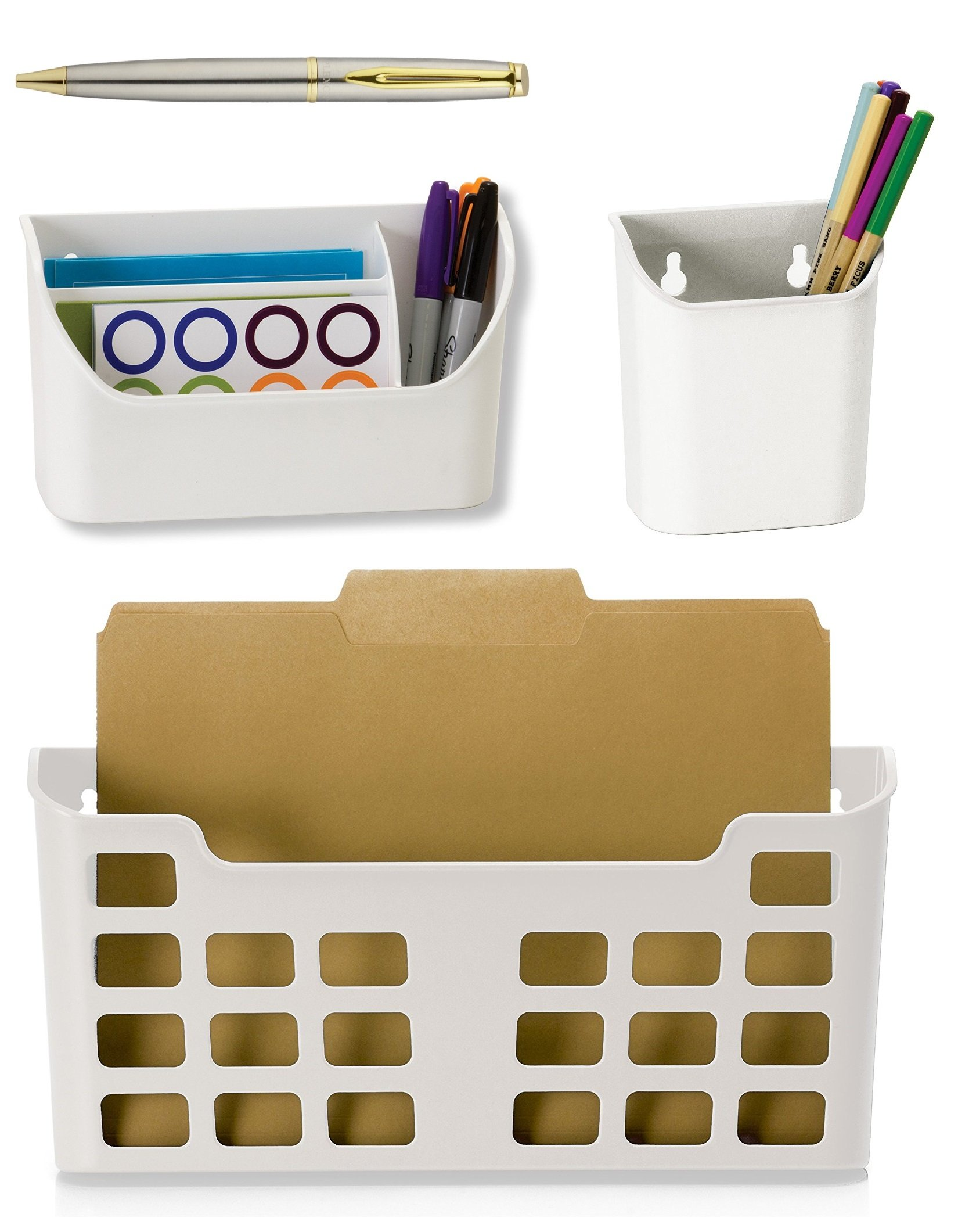 Officemate MagnetPlus Magnetic Letter Size File Pocket, White, 2-Pack Bundle with a Plexon Rollerball Pen