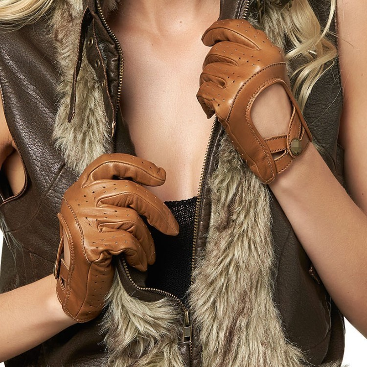 2016 ladies fashion color series driving lady leather gloves