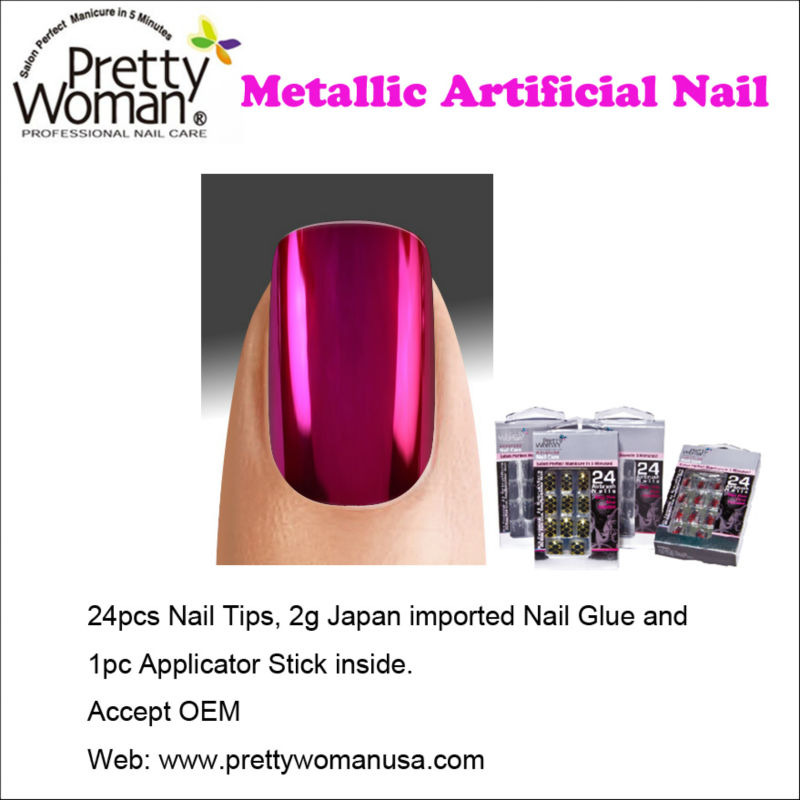 24pcs Metallic Types of Artificial Nails Pretty Woman Best Fake Nails Design