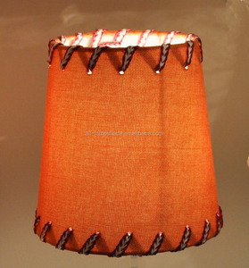 red string fabric lampshade