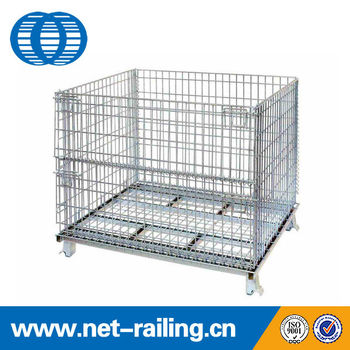 industrial foldable stacking wier mesh rolling metal storage bins - Metal Storage Bins