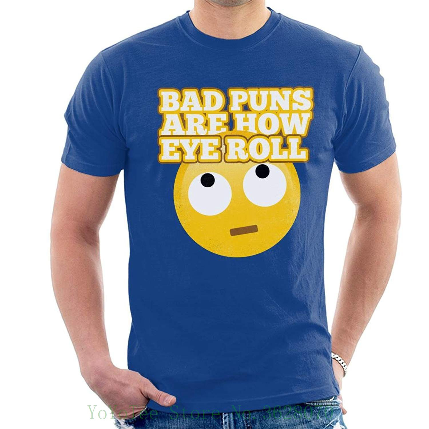 Bad Puns Are How Eye Roll Men's T-shirt T-shirt Casual Short Sleeve For Men  Clothing Summer