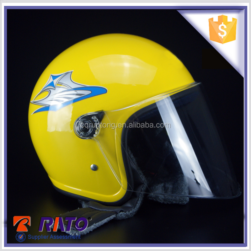 Grey yellow half face motorcycle arai helmet