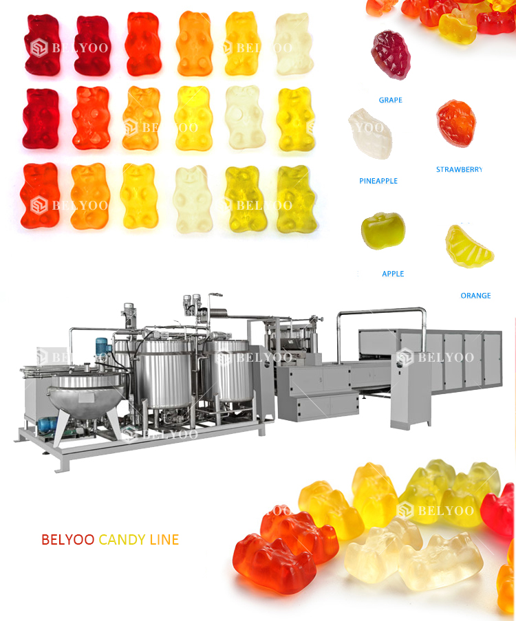 Small Vitamin Gummy bears making machine jelly candy beans machine