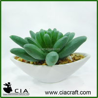 PVC Small Artificial Mini Potted Succulent Plant in White Porcelain Pot for Wholeselling