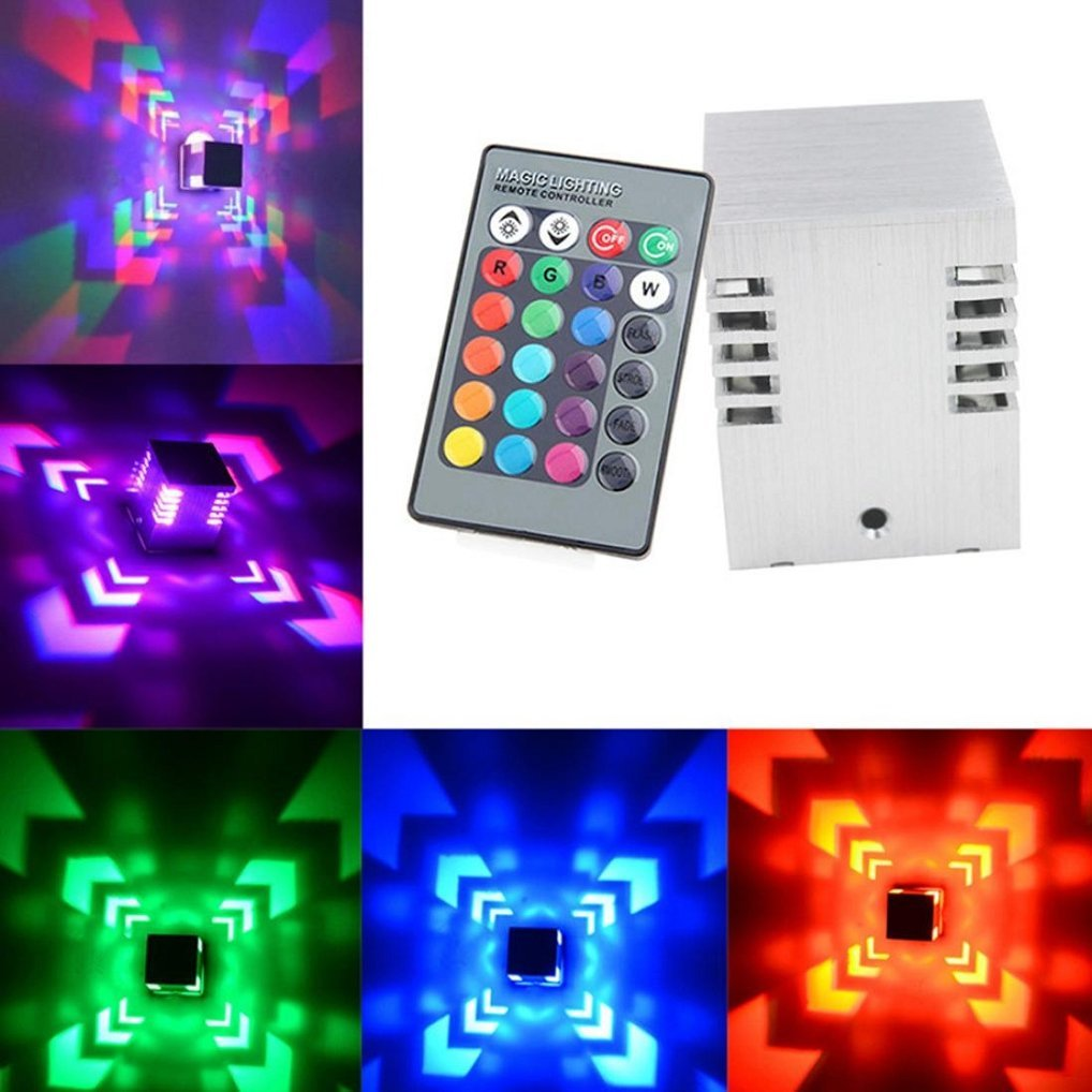 360 Degrees Hollow Cylinder LED Wall Lamp Colorful RGB Square Wall Lamp Surface Install Wall Light Indoor LED Luminaire Lighting (Silver)