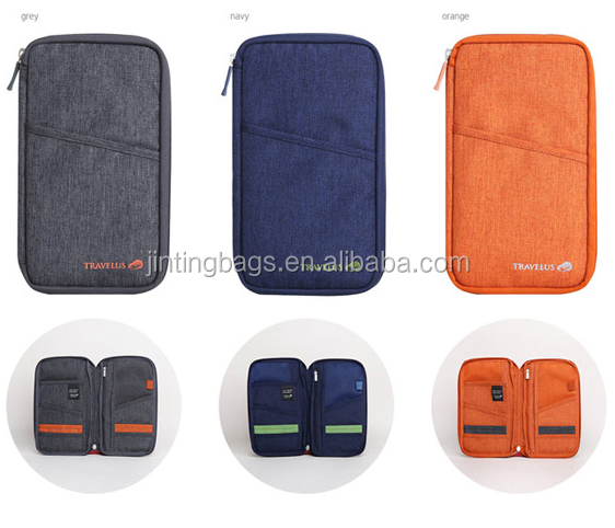 High Quality Abrasive cloth travel passport wallet card and cash holders for airline tickets and card passport