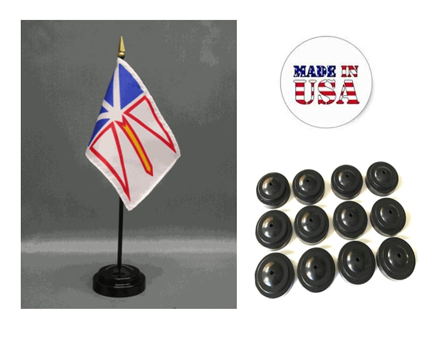 """Made in the USA!! Box of 12 Newfoundland 4""""x6"""" Miniature Desk & Table Flags Includes 12 Flag Stands & 12 Canada Newfoundland Small Mini Stick Flags"""