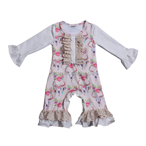 new year unisex deer romper ruffled baby romper raglans cotton fabric onsie winter soft floral baby jumpsuits