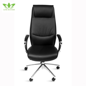 LK-6185 Height adjustable black leatherette executive synchronous aluminum base chair