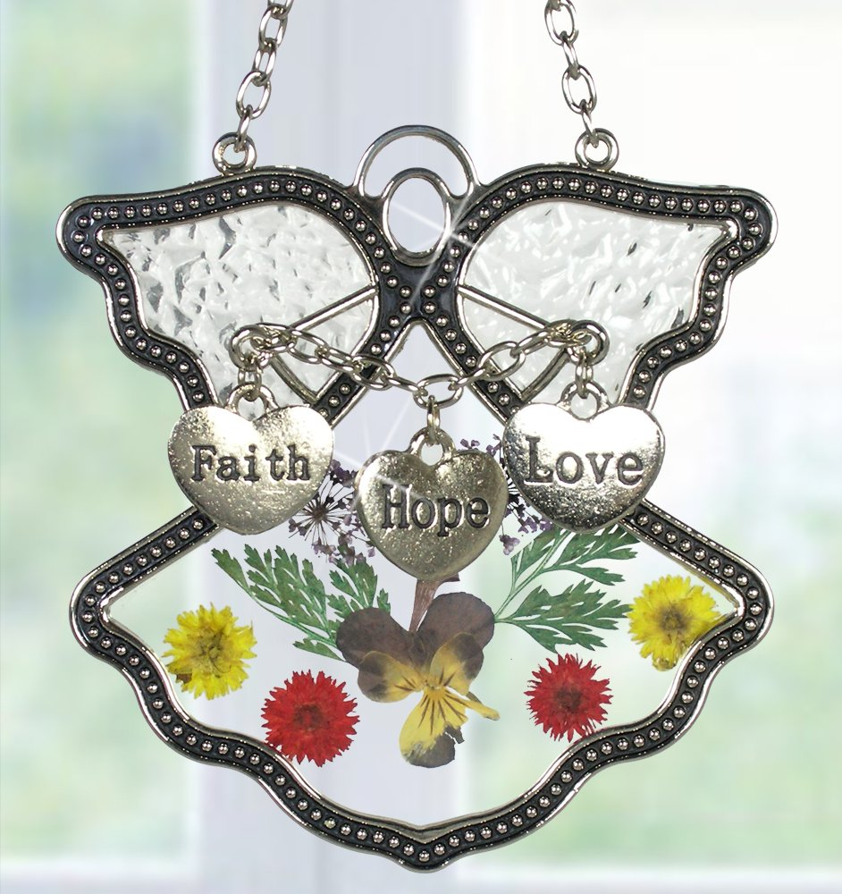 BANBERRY DESIGNS Faith Hope Love Angel Suncatcher Silver Metal and Glass with Pressed Flower Wings & Three Hanging Heart Shaped Charms - 3.5 Inch