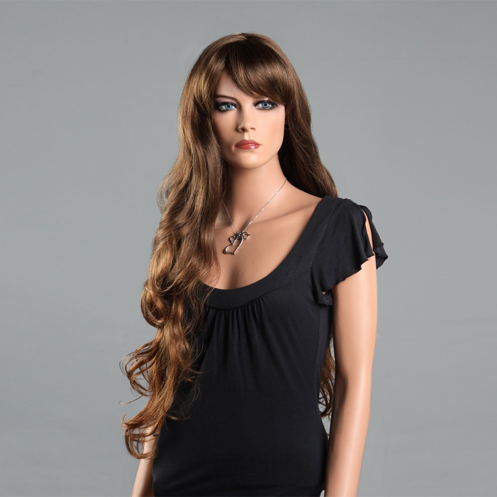 Hot Super Long Brown Hair Wigs for Women Hair Curly Weaves Wigs with Bangs  Synthetic Women 32a7d4b1aa