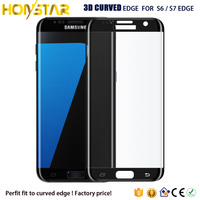 Factory price 3D Full Cover Tempered Glass Screen Protector for Samsung Galaxy S7 Edge And Galaxy S6 Edge .