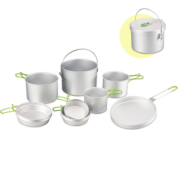 35ddc8508 Portable Kitchen Outdoor Aluminum Silver Cookware Set Hot Sales 8pcs  Camping Army Cook Set