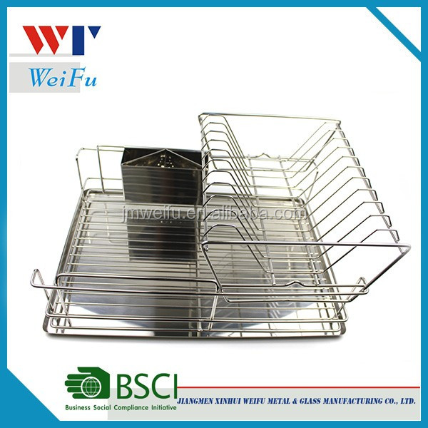 2-Tier Steel Dish Rack with Removable Utensil Cup