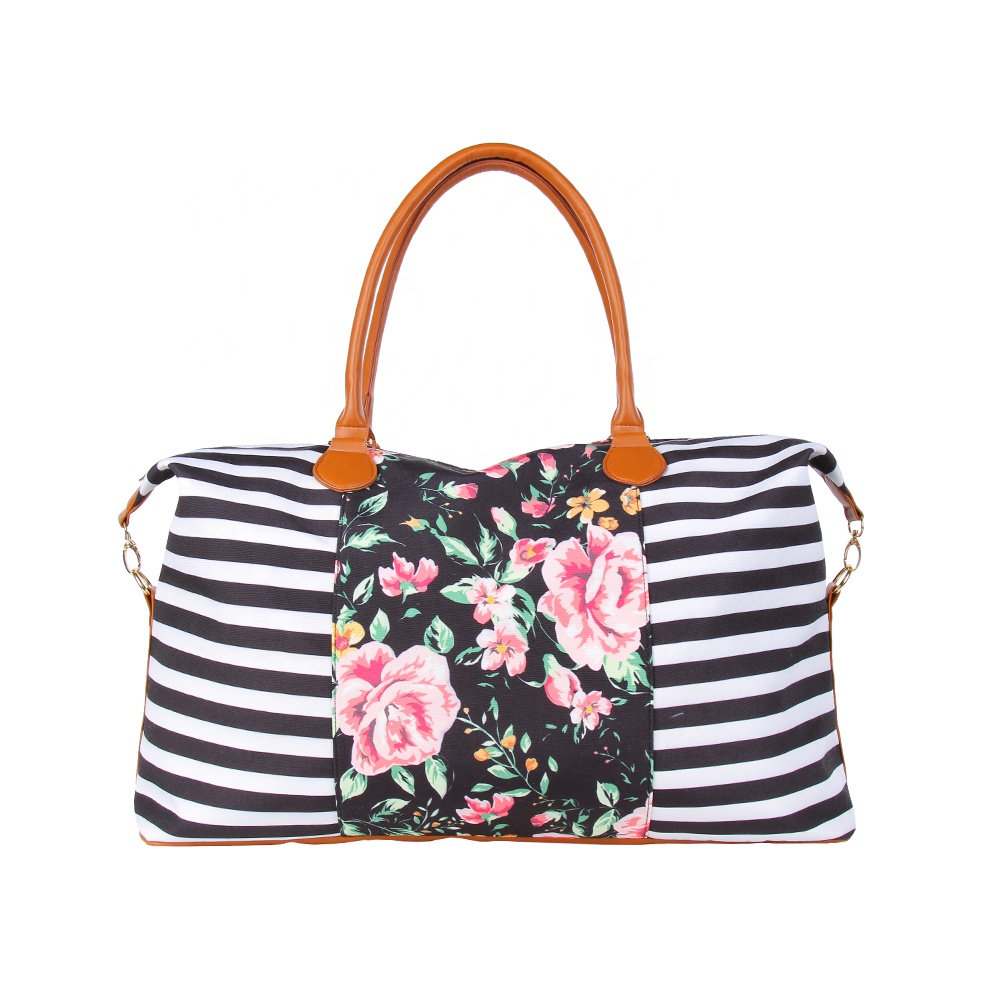 Monogram Striped Leopard Floral Weekender <strong>Totes</strong>