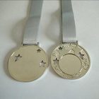 metal plain silver stars medallion with ribbon for sublimation printing
