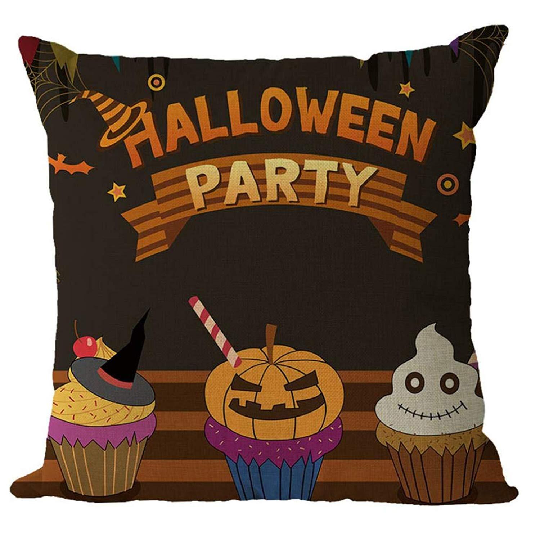 MaxFox Halloween Geometric Design Throw Pillow Cover 18 x 18 Inch Cotton Blend Pillow Cover for Sofa Bedroom Car Decor