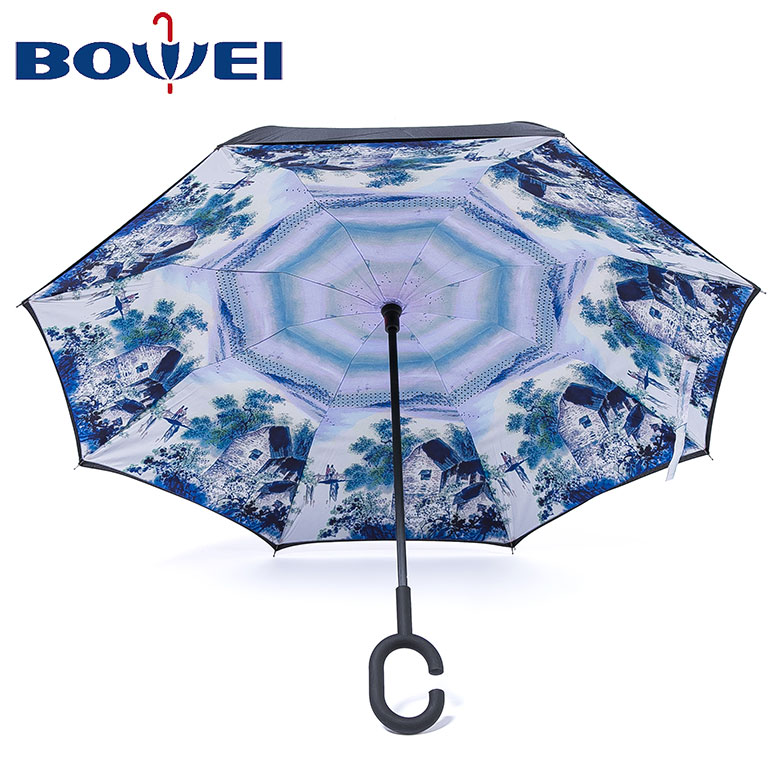 Promotional Chinese style 23 upside down inverted umbrella with C handle