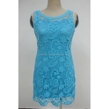 D9981fashion donna crochet maxi dress senza maniche crochet lace sheer blu abito crochet modello