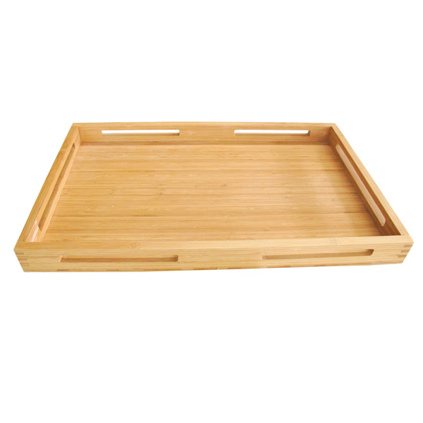SGS FDA passed rectangle vegetable food serving tray bamboo with handles made in vietnam