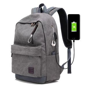 Custom design OEM factory canvas backpack with USB charger