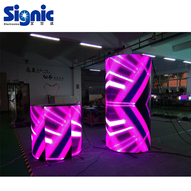 P2.5 P4 flexible modul video werbung gebogene zylinder led-display