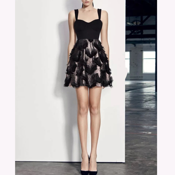 4a8ba7046d7 Fashion New Women Short Mini A-line Sexy Elegant Black Feather Dress ...