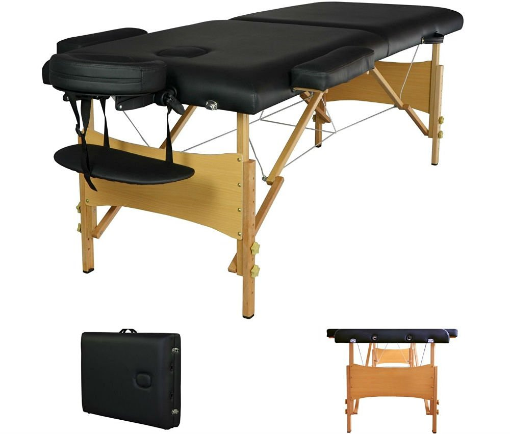 "2"" Pad 84"" Black Portable Massage Table w/Free Carry Case Chair Bed Spa Facial Table"
