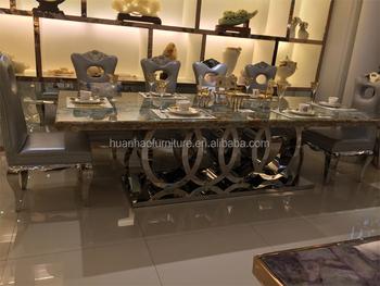 Marble Top Stainless Steel Base Modern Turkish Furniture Dining