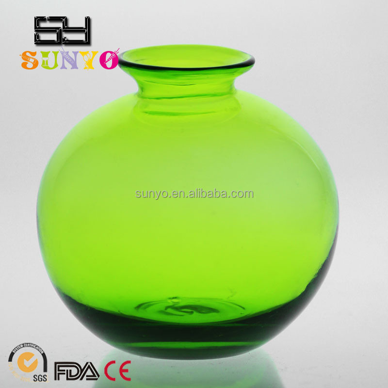Best Selling Colorful Round Crystal Glass Vase/Home Decoration