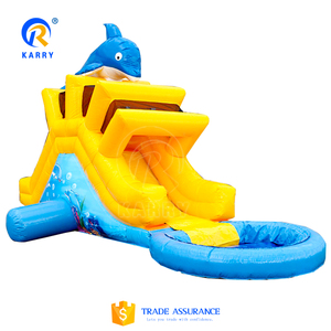 New design cute small garden slide, dolphin family water slide, cheap inflatable water slides for sale