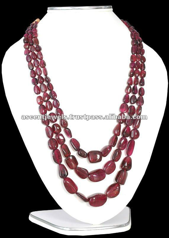 3 STRANDS RUBELITE NUGGET BEADS