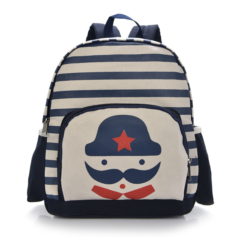 Get Quotations · Autumn Cartton Mustache Little Children School Bag Nylon  Stripe Kids Book Bags Casual Boys Girls Backpacks 53c1473fa7e81