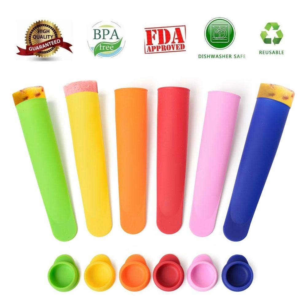Aolvo Homemade Popsicle Molds, DIY Silicone Popsicle Molds for Adults and Toddlers,Cylinder Pudding/Jello Pop Ice Maker,BPA Free/FDA Approved and Food Grade Material,Reusable,Set of 6