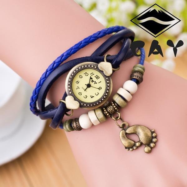 Винтаж кварцевые мода переплетения обернуть вокруг кожаный браслет часы с ног подвеска дамы свободного покроя ретро наручные часы relgio Reloj