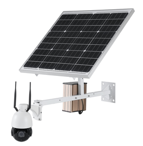 Solar Powered Waterproof PTZ Dome Camera CamHi App Solar Powered System 4G  Wireless High Speed 18 Times Zoom Camera