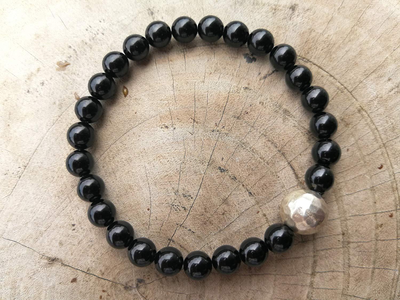 6 mm,Black Tourmaline Bracelet,tourmaline bracelet,Healing Stones For Protection,Chakra Bracelet,Yoga Jewelry,Karen hill tribe silver ball 10 mm - size 6.5,7.,7.5,8,8.5 inches