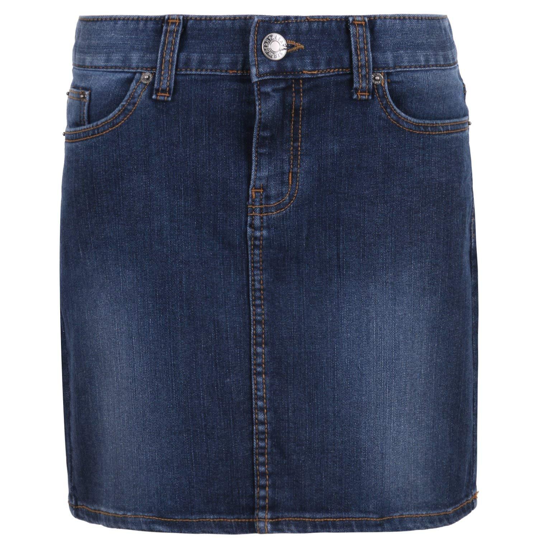 ililily Classic Fit Vintage Washed Cotton Stretch Denim Skirt
