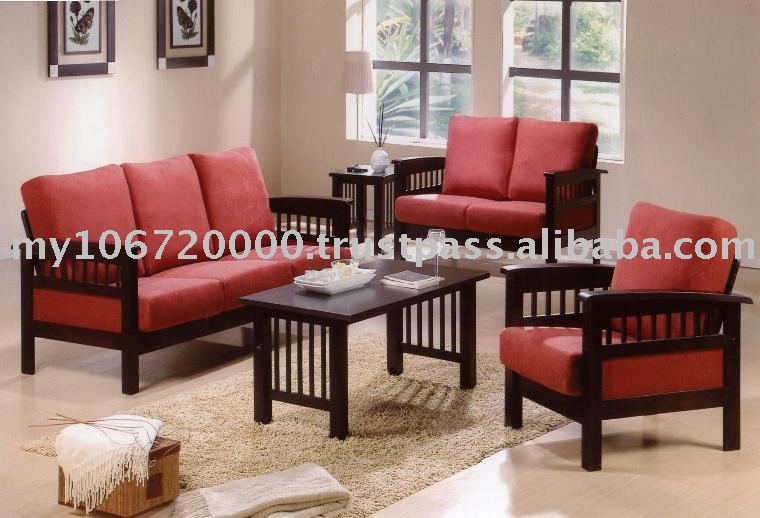 Wooden furniture sofa set refil sofa for Front room furniture sets