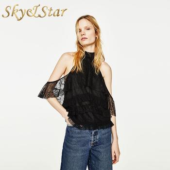 4842e0ed New Fashion Sexy Backless Halter Black Lace Saree Woman Blouse ...