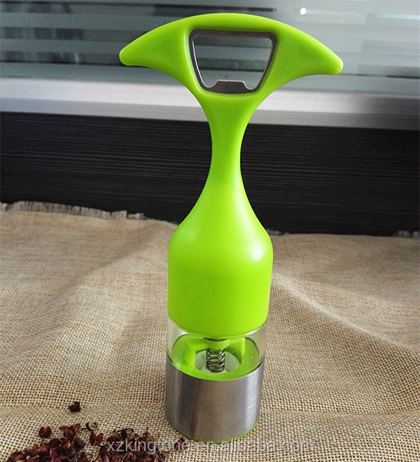 New design fashion multifunction kitchen glass pepper grinder with bottle opener