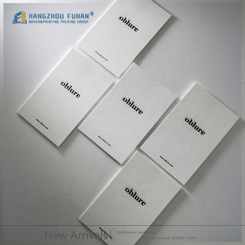 FSC Certificate Garment Accessories China Factory Custom Embossed Logo White Matte Paper Clothing Hang Tag