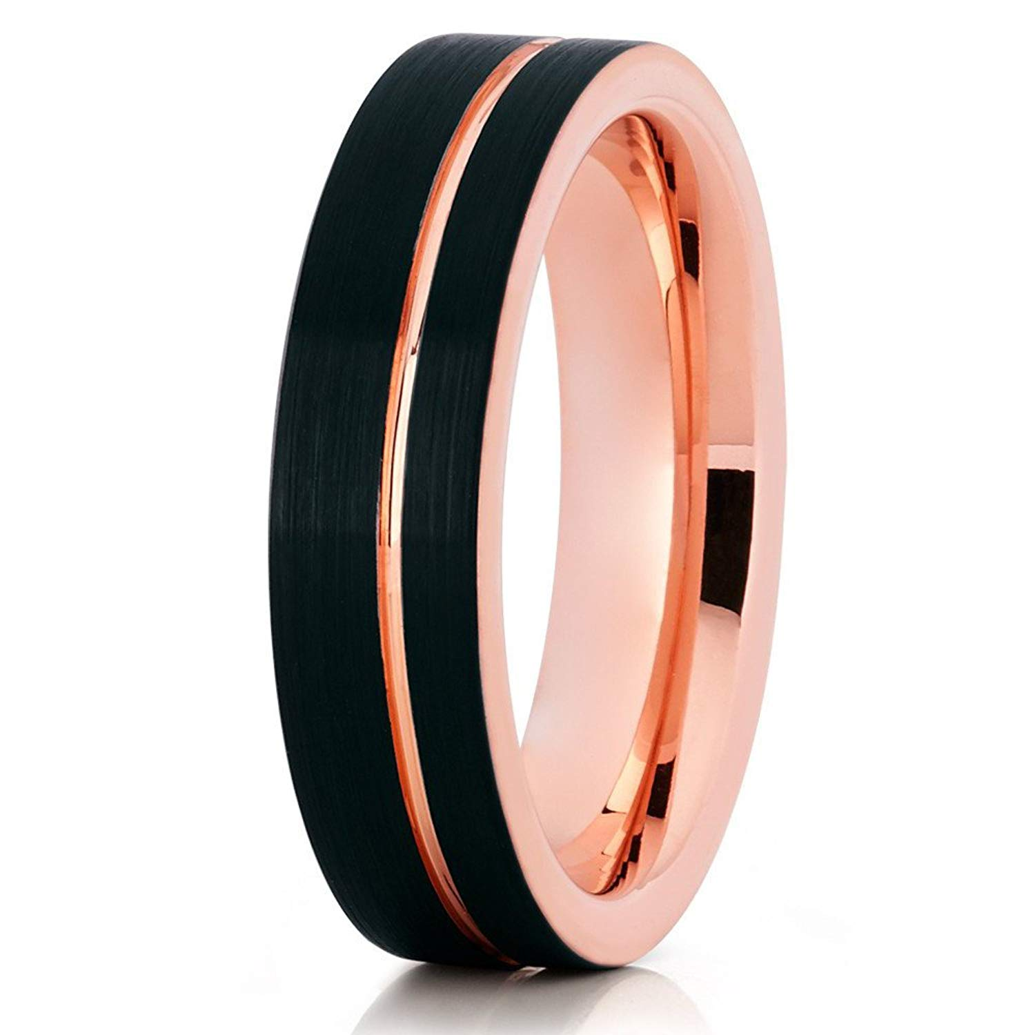 Silly Kings Rose Gold Tungsten Ring,Rose Gold Tungsten Wedding Ring,8mm Black Tungsten Ring,Men /& Women,Engagement Ring 18k Rose Gold