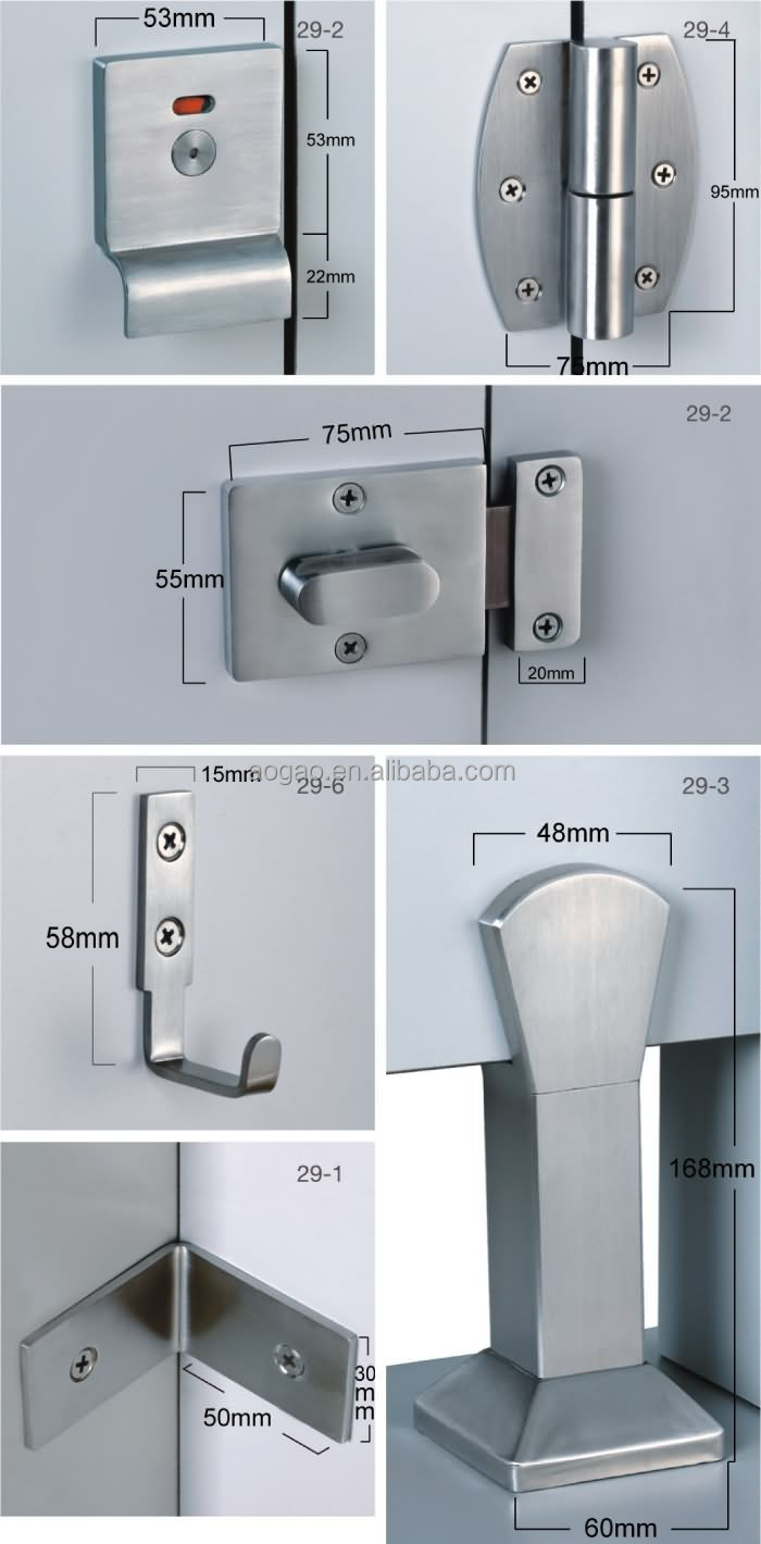 Aogao 29 series stainless steel bathroom stall hardware View